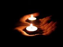 Luz en manos Fotos de archivo libres de regalías