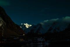 Luz en nieve Foto de archivo libre de regalías
