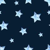 Luz - estrelas azuis dispersadas na obscuridade - teste padrão sem emenda do fundo azul Imagens de Stock Royalty Free