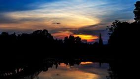 Luz fantástica en la ciudad histórica de Ayutthaya Fotos de archivo libres de regalías