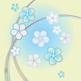 Luz - fundo azul com flores decorativas Fotografia de Stock