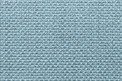 Luz - fundo azul de matéria têxtil com teste padrão quadriculado, close up Estrutura do macro da tela imagem de stock