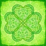 Luz - fundo ornamentado verde do trevo da quatro-folha Imagens de Stock