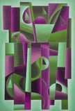 Luz geométrica da arte de Digitas - verde e Bordéus foto de stock