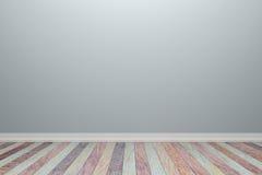 Luz interior vazia - sala cinzenta com assoalho de madeira, para a exposição de Fotografia de Stock Royalty Free