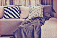 Luz - L cinzento sofá da forma com varia descansos patern Imagem de Stock Royalty Free