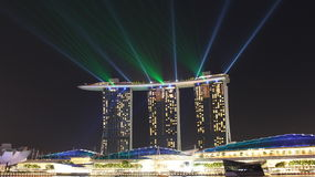 Luz laser de Marina Bay Sands Imagen de archivo libre de regalías