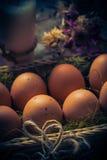 Luz místico da vela dos ovos da páscoa da composição da Páscoa Imagem de Stock
