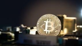 Luz móvil en el primer del bitcoin en la placa madre Nuevas finanzas crypto de la tarifa de la moneda, del bitcoin y del ordenado almacen de video