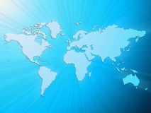 Luz - mapa de mundo azul Imagens de Stock Royalty Free