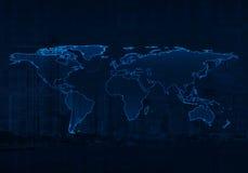 Luz - mapa do mundo azul na cidade e no fundo do gráfico de negócio, Elem Imagens de Stock