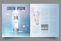 Luz - o projeto cosmético azul do folheto com gotas helicoidais da estrutura e da água, pode igualmente ser usado em catálogos ou ilustração stock