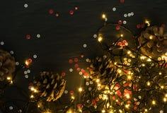 Luz ou Garland Lights de Natal no fundo natural imagens de stock