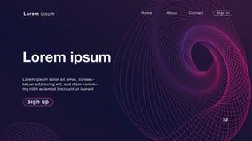 Luz púrpura de las ondas lineares dinámicas del extracto del fondo para el homepage stock de ilustración