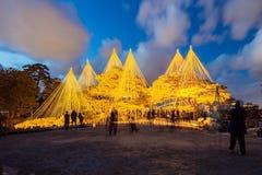 Luz-para arriba del parque del castillo del jardín y de Kanazawa de Kenrokuen en Kanazaw Foto de archivo