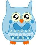 Luz pequena bonito do bebê - coruja azul com laço Fotos de Stock Royalty Free