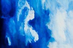 Luz - pintura azul e pintura branca, nuvens pintadas Foto de Stock Royalty Free