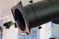 Luz preta da fase em um apoio da construção de aço Fotografia de Stock