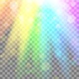 Luz que brilla intensamente colorida Rayos del arco iris Arco iris Efecto glaring con la transparencia Elemento gráfico para los  Fotos de archivo