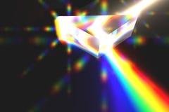 Luz refracting de prisma Imagens de Stock