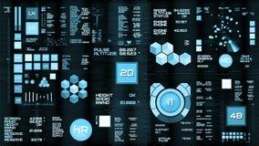 Luz - relação futurista azul/Digital screen/HUD video estoque