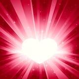 Luz rosada repartida con el corazón de la tarjeta del día de San Valentín Foto de archivo