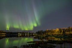 Luz septentrional en Noruega Imagen de archivo