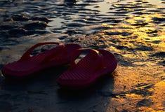 Luz solar caída nos deslizadores avermelhados em torno da área da praia Imagem de Stock
