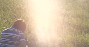 A luz solar está caindo na cabeça do menino no meio do campo com grama verde video estoque