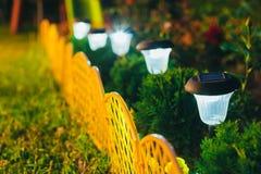 Luz solar pequena do jardim, lanterna na cama de flor Projeto do jardim Imagem de Stock Royalty Free