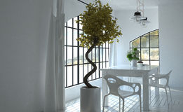 Luz solar que vem através das janelas na cozinha Foto de Stock