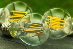 Luz verde, bulbos do diodo emissor de luz E27 com várias microplaquetas Fotos de Stock Royalty Free