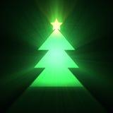Luz verde del árbol de navidad Fotografía de archivo