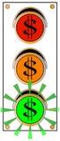 Luz verde del tráfico de la muestra de dólar Imagen de archivo libre de regalías