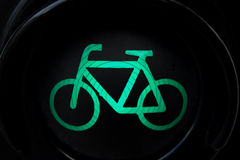 Luz verde para a bicicleta Fotografia de Stock Royalty Free