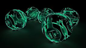 Luz verde que brilla intensamente de las esferas futuristas abstractas Fotos de archivo