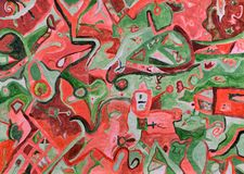 Luz vermelha do por do sol abstrato sobre a pintura acrílica da paisagem verde Fotos de Stock Royalty Free