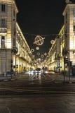 Luz y arte adentro vía Po, Turín Fotos de archivo libres de regalías
