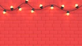 Luz y espacio rojos 3d de la escena de la pared rendir el fondo abstracto del concepto 3d del Año Nuevo del día de fiesta de la N ilustración del vector