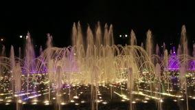 Luz y fuente de la música en la museo-reserva Tsaritsyno en la noche metrajes