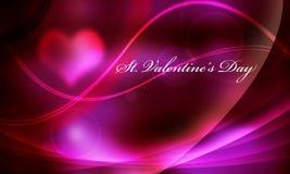 Luz y línea purpúreas claras tarjeta del día de San Valentín puesta letras Foto de archivo libre de regalías