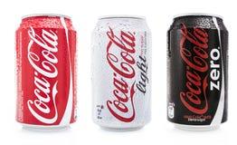 Luz, zero e normal da coca-cola Fotografia de Stock