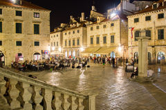 Luza square at night. Dubrovnik. Croatia Stock Images