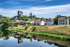 Luzech. On the banks of the Lot river in the Lot Valley Stock Photos