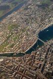 Luzern Ελβετία ποταμών γεφυρών παρεκκλησιών Λουκέρνης κεραία πόλεων κωμοπόλεων Στοκ Φωτογραφίες