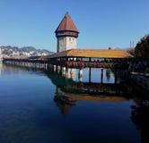 Luzern-Brücke die Schweiz lizenzfreie stockfotos