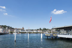 Luzern central boat station Royalty Free Stock Photos