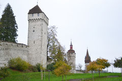 Luzern City Wall with medieval towers Stock Photos