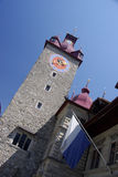 Luzern Clocktower stock foto's