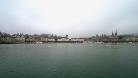 Luzern historic center. Switzerland. View from the river. Timelapse stock video footage